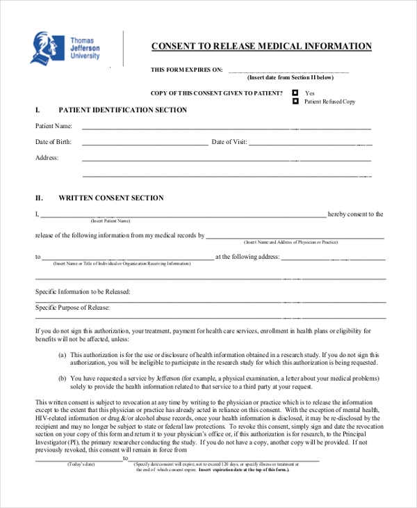 medical information release consent form