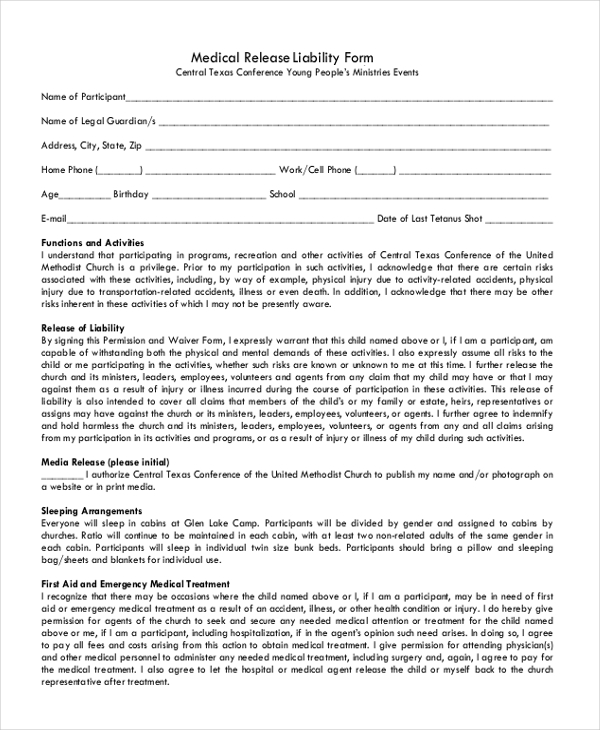 medical release and liability form