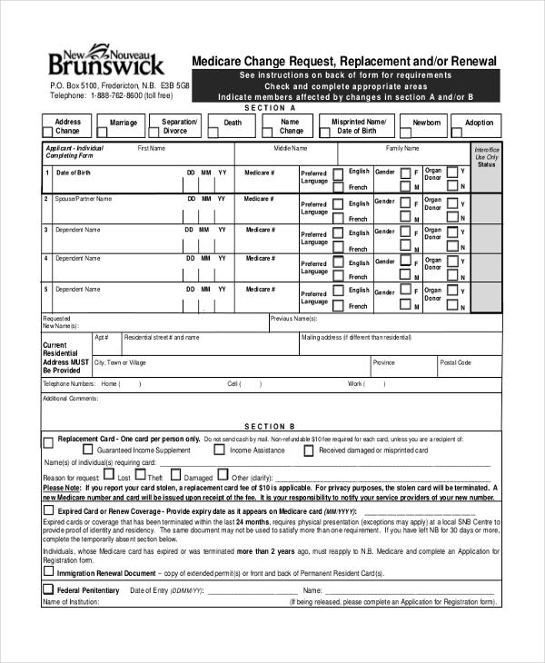 medicare change of address form