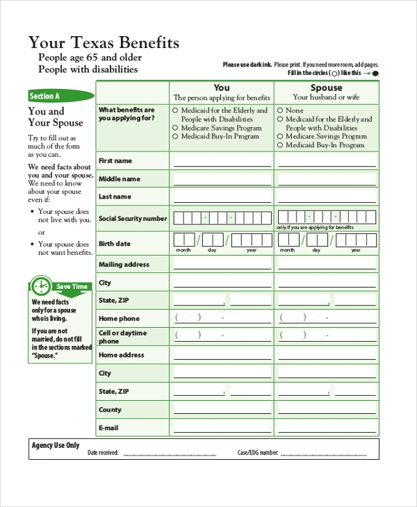 Sample Medicare Application Form   Free Documents In Pdf