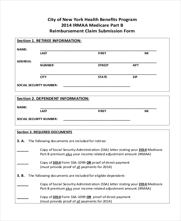 Sample Medicare Form   Free Documents In Pdf