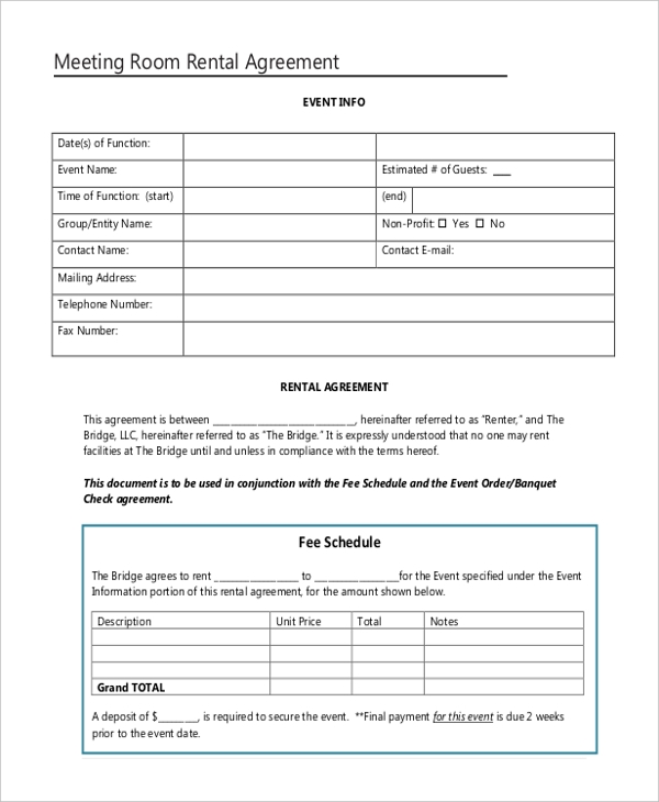 Sample Room Rental Agreement Form 10 Free Documents In