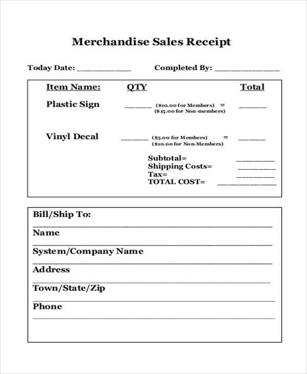 merchandise sales receipt
