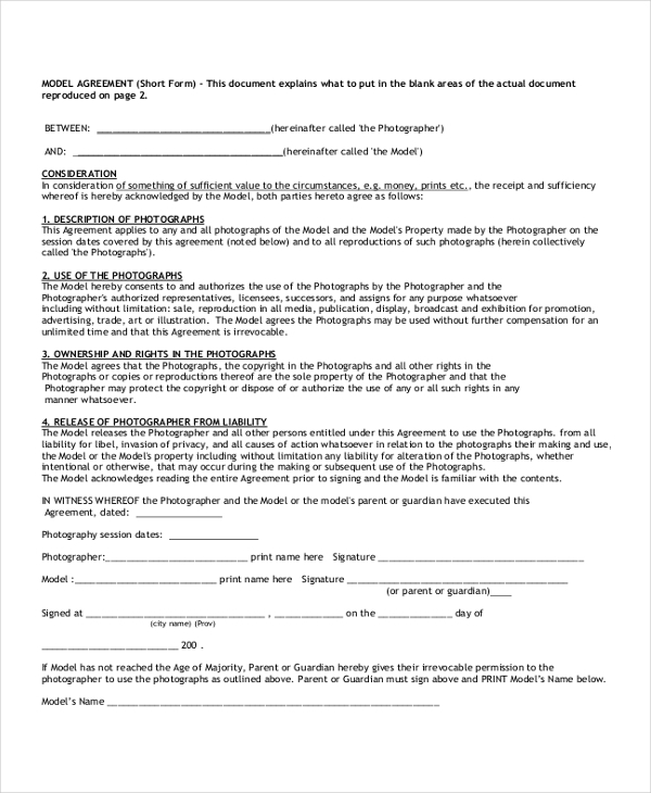 model contract form