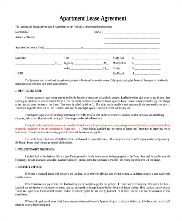 Month To Month Apartment Lease Agreement