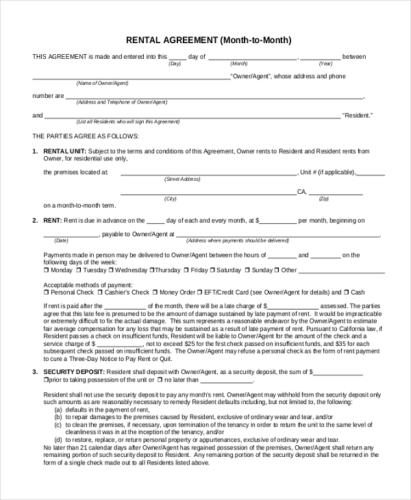 Sample Month To Month Rental Agreement Form   Free Documents In