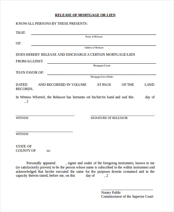 Sample Lien Release Form 11 Free Documents in Doc PDF – Release of Mortgage Form
