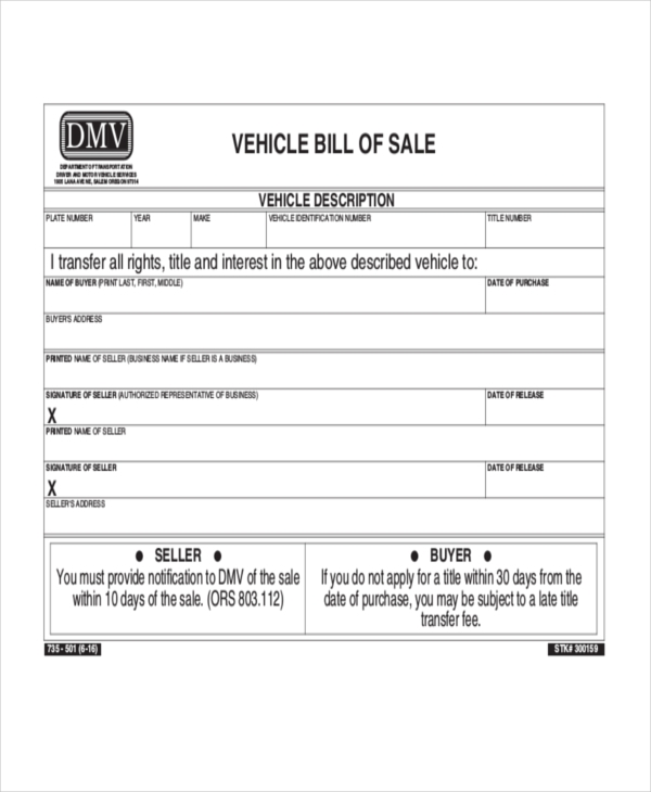 Sample Bill Of Sale Vehicle Form   Free Documents In Pdf