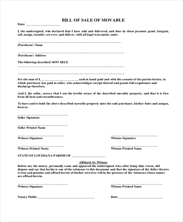 free 8  sample auto bill of sale forms