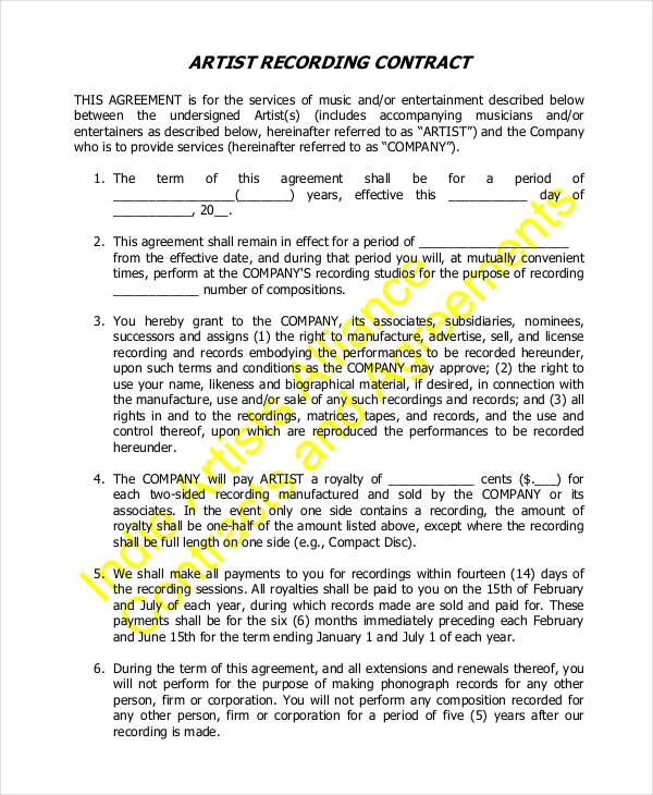 Sample Contract Form   Free Documents In Pdf Doc