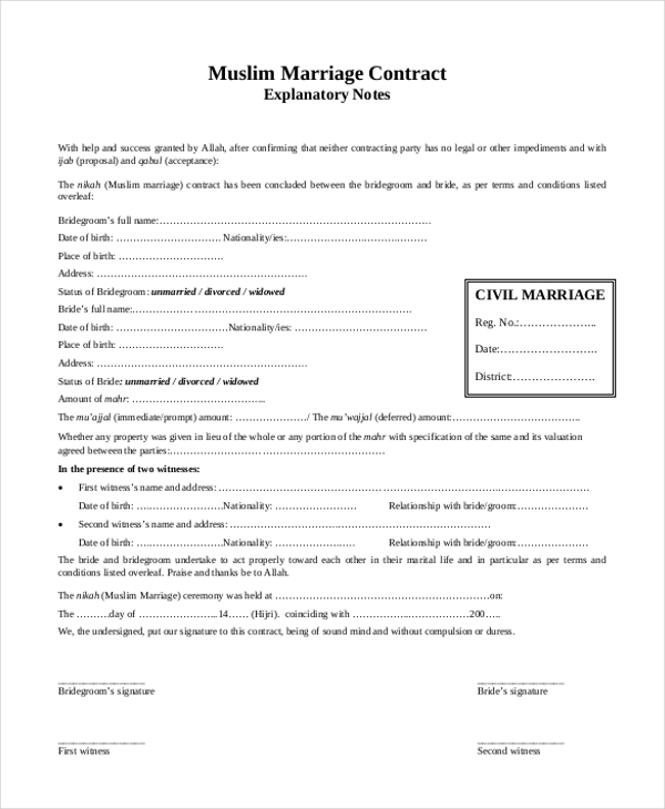Sample Marriage Contract Form   Free Documents In Doc Pdf