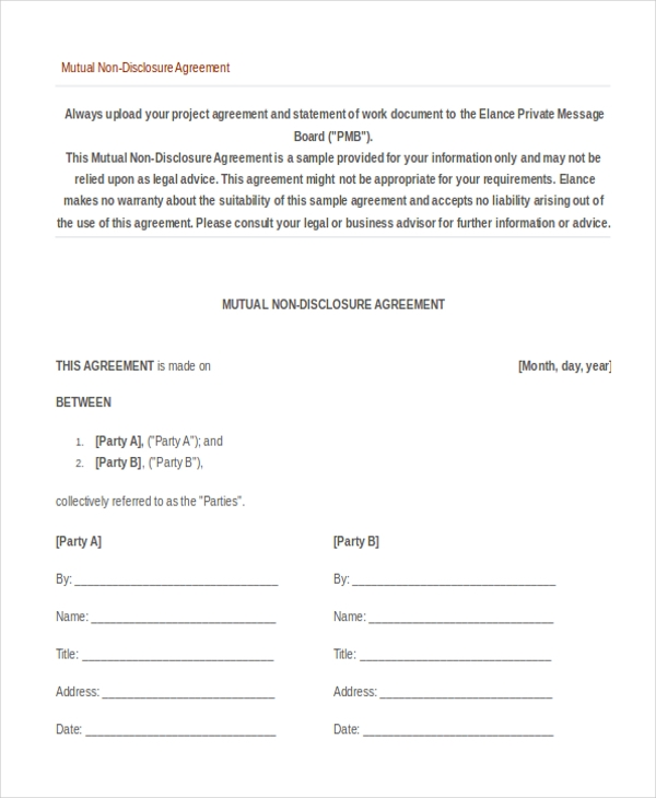 NonDisclosure Agreement Sample Form   Sample Example Format
