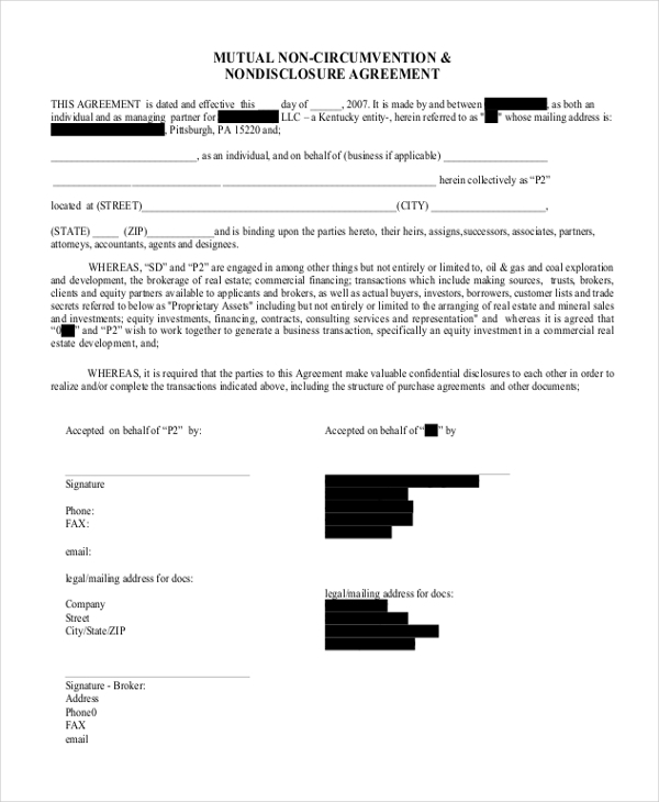 Mutual Non Disclosure And Non Circumvention Agreement  Mutual Agreement Template