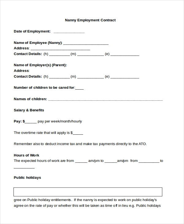 9+ Sample Nanny Contract Forms