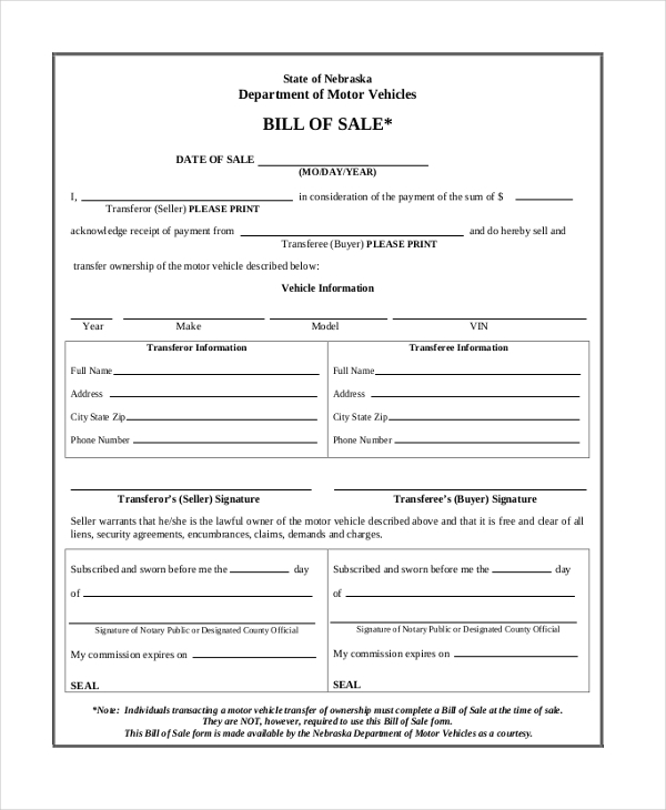 nebraska dmv bill of sale form