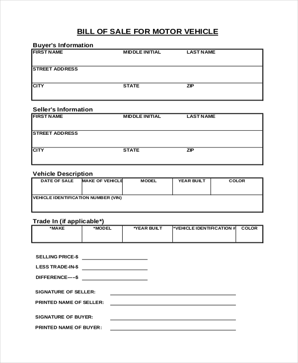 new vehicle bill of sale form