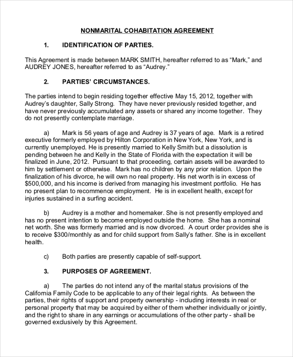Sample Cohabitation Agreement Form