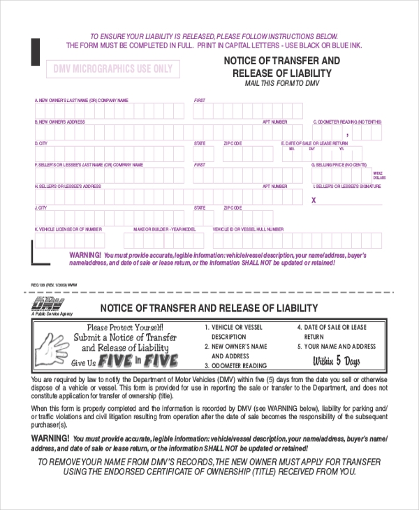 notice of transfer and release of liability