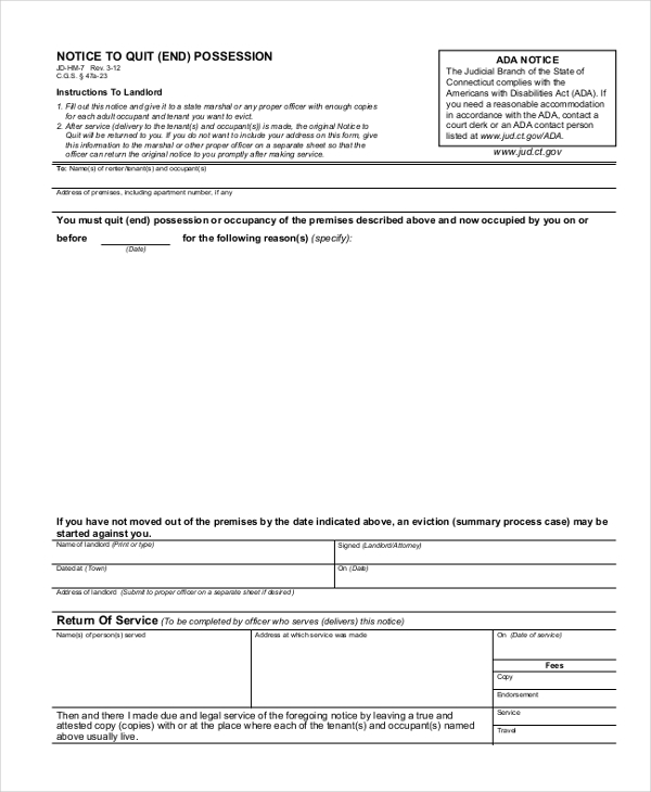 notice to quit form