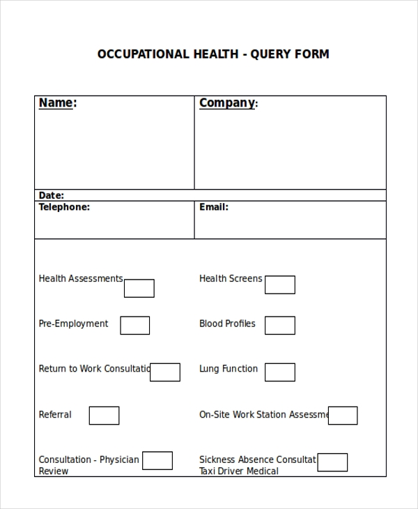 occupational health query form