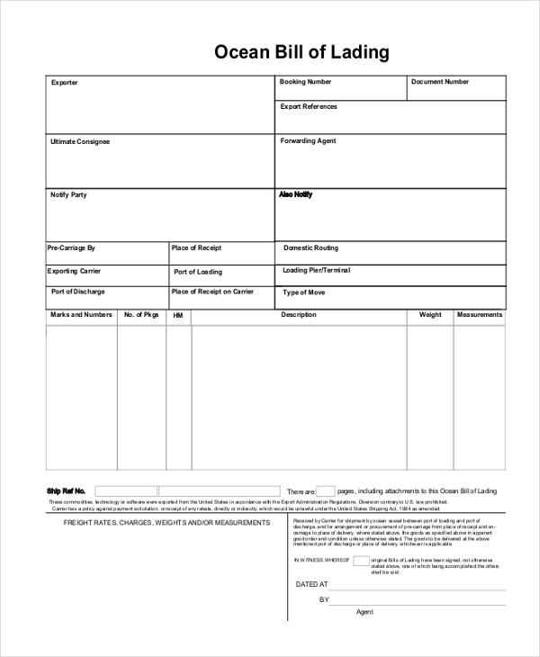 Generic ...  Blank Bill Of Lading Form Template