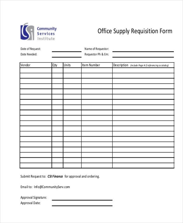 Requisition Form Office Supply Requisition Form Sample