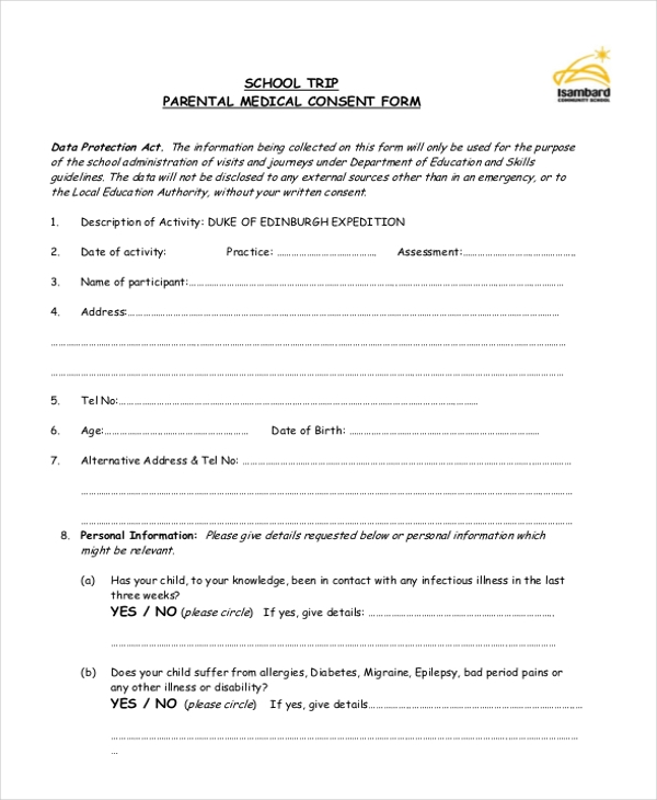 parental medical consent form