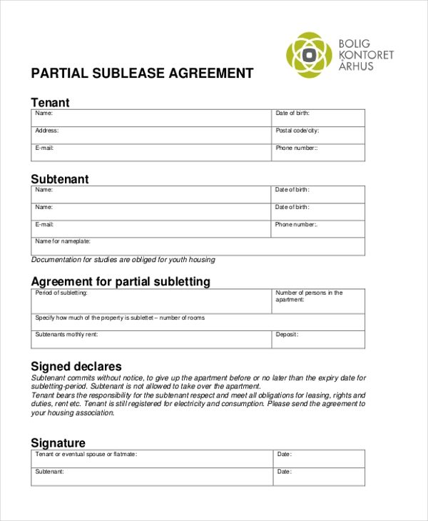 partial sublease agreement