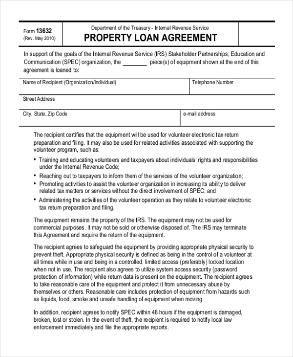 Sample Loan Agreement Form   Free Documents In Doc Pdf