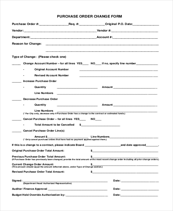 purchase change order form