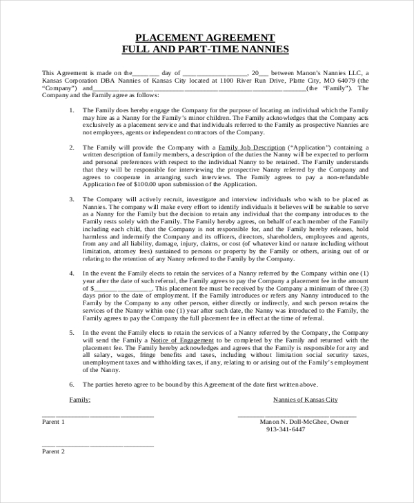 Sample Nanny Contract Form 9 Free Documents in PDF Doc – Nanny Agreement Contract