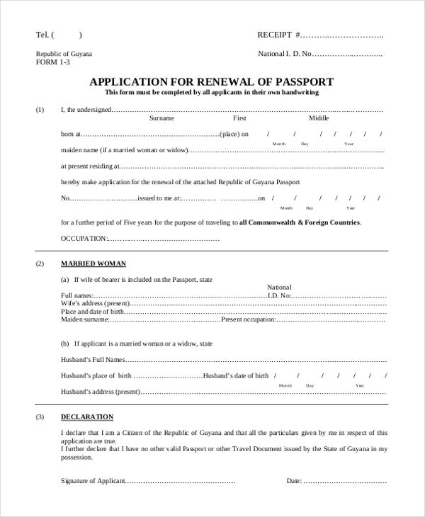 Sample Passport Application Form   Free Documents In Pdf