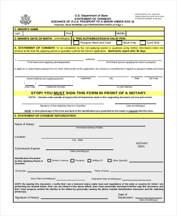 passport renewal form for minors