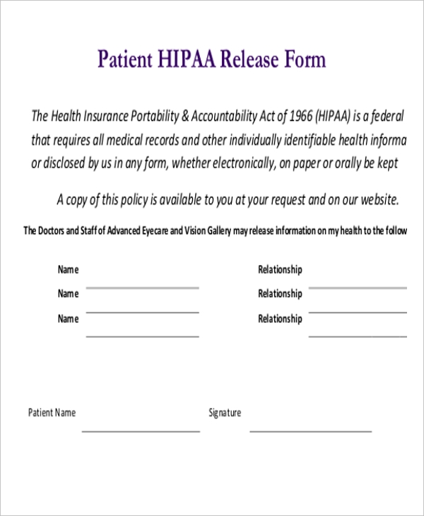 Sample Hipaa Release Forms - 10+ Free Documents In Pdf