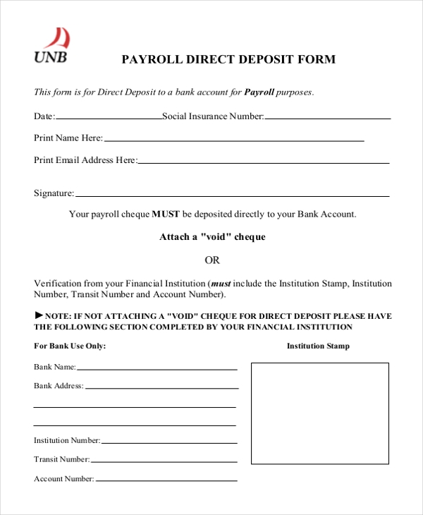payroll direct deposit form