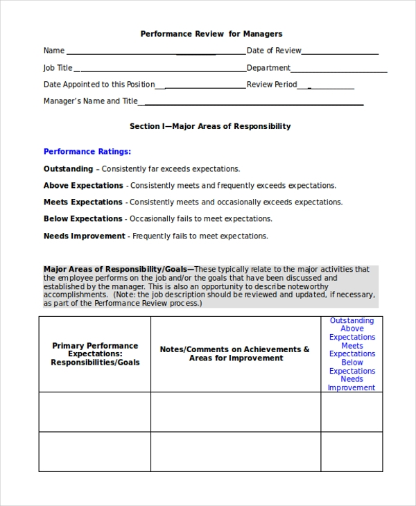 performance review form for managers