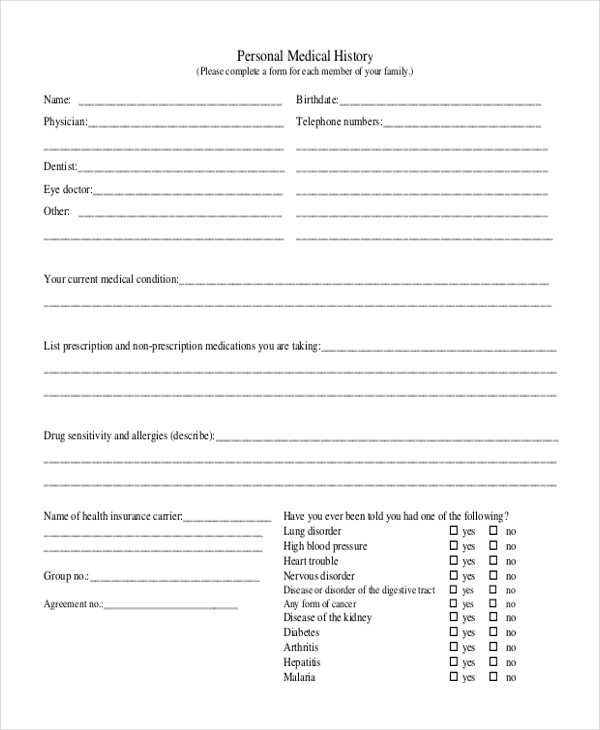 Sample Medical History Form 11 Free Documents in Doc PDF – Sample Medical History Form