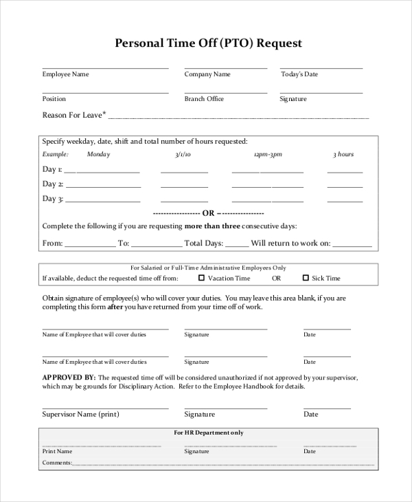 Pto Request Form Sample  CityEsporaCo