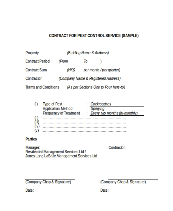 Sample Service Contract Form   Free Documents In Doc Pdf