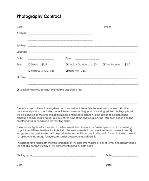 Photography contract photography forms client booking for Birth photography contract template