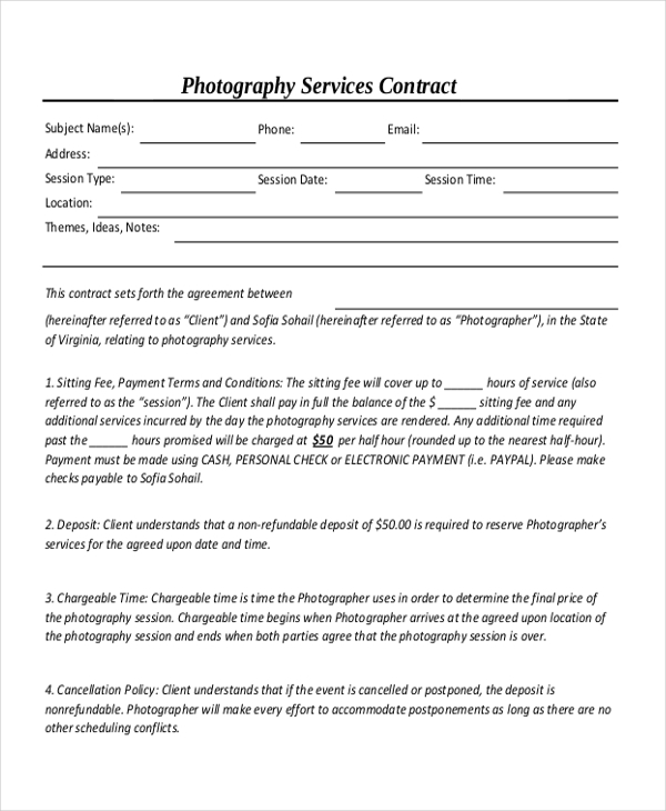 Attractive Photography Services Contract