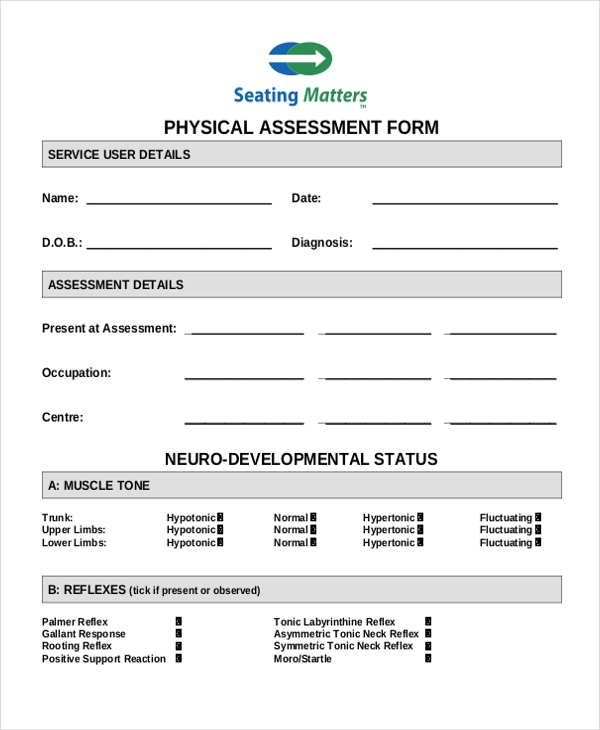 Sample Physical Form   Free Documents In Doc Pdf