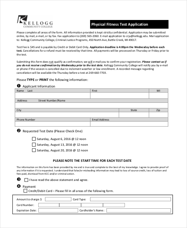 Fitness Assessment Form  WowcircleTk