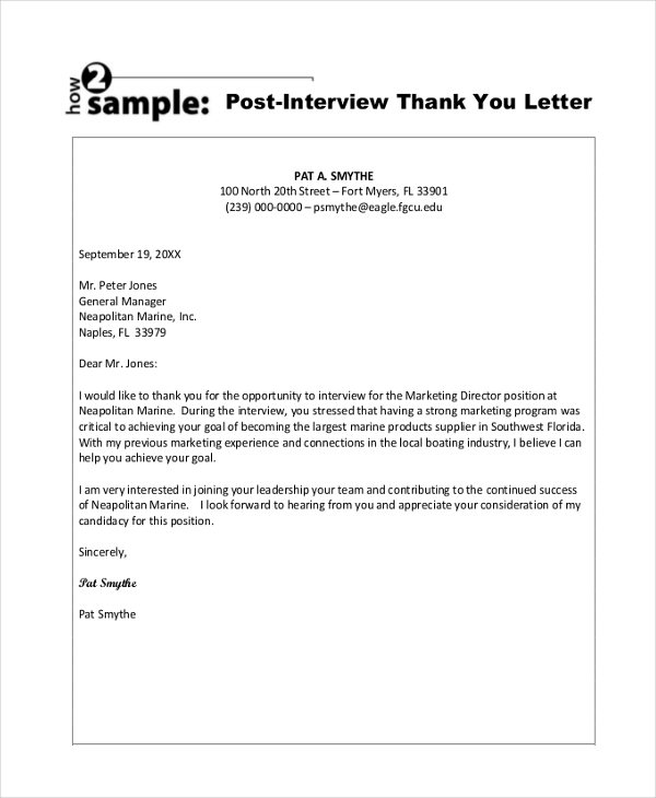 Sample Thank You Letter After Interview   Free Documents In Pdf Doc