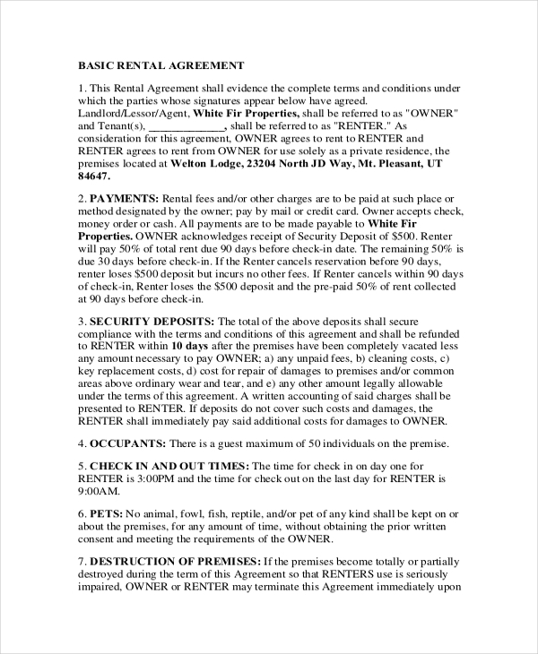 printable basic rental agreement