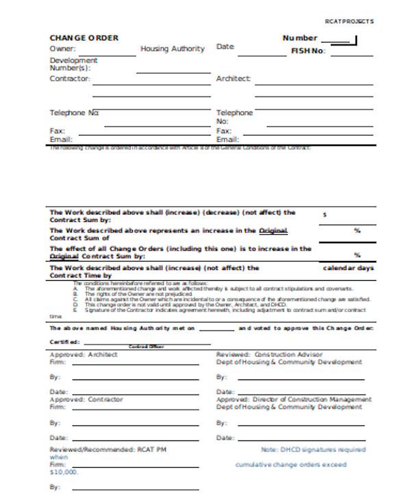 printable change order form