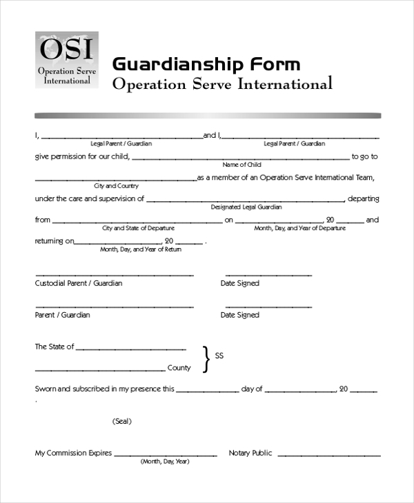 printable guardianship form