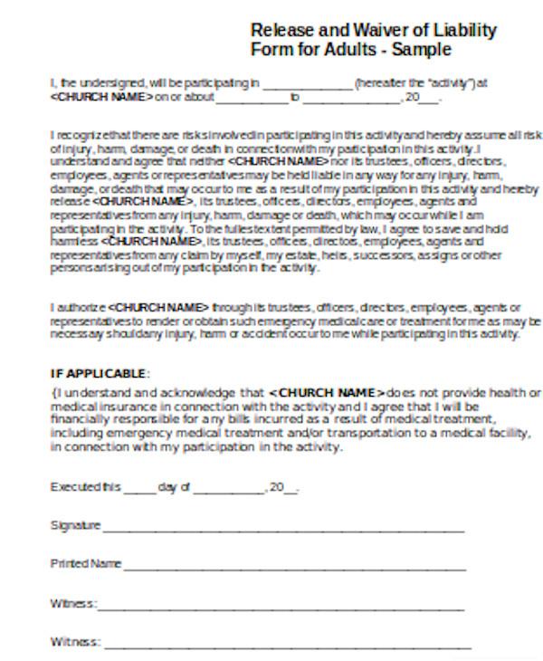 printable liability waiver form