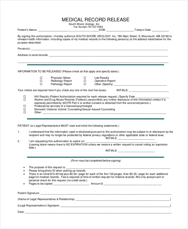 Sample Medical Records Release Form - 10+ Free Documents In Pdf