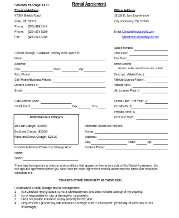 printable rental agreement form